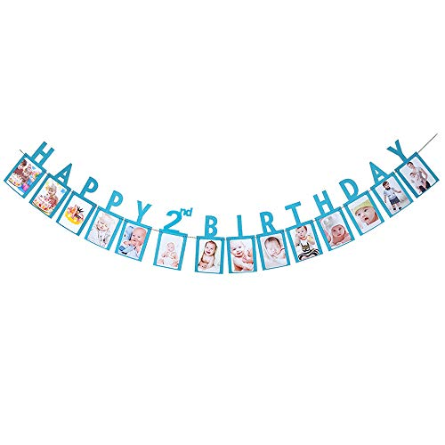 Hatcher lee Happy 2nd Birthday Two Year Photo Banner Blue Foiled for Wedding Sign Bridal Shower Banner Hen Night Bunting]()