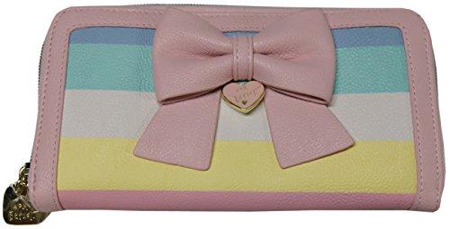 Betsey Johnson Hopeless Romantic Zip Around Wallet Clutch Pastel Stripes