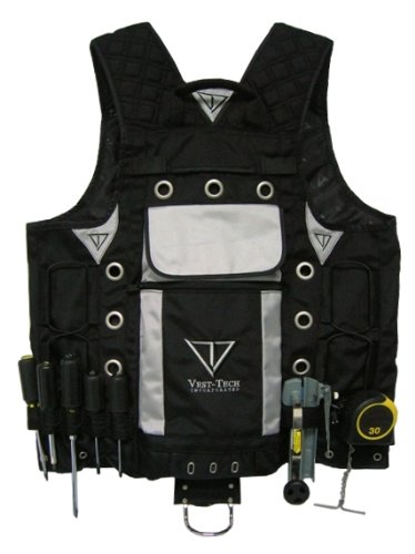 High Visibility Tool Vest with Built in Hydration Pouch - Electricians, Surveyors, Contruction (Black) by Vest Tech (Image #1)