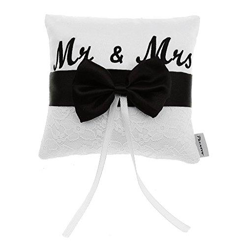 Mr & Mrs Satinband Schleife Hochzeit Ringkissen Kissen 15cm