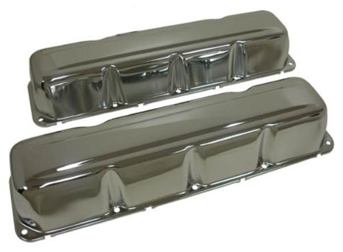 (1968-79 Compatible/Replacement for AMC/Jeep 304-360-390-401 V8 Steel Valve Covers - Chrome )