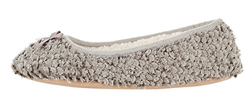 MIXIN Women's Ballerina Velveteen Soft Sole Indoor Slippers Grey US Size 8 Photo #4