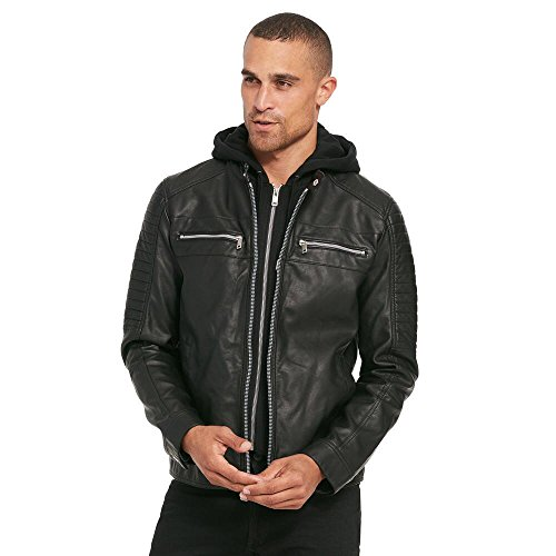 Black Rivet Mens Rugged Faux-Leather Cycle Jacket W/ Removable Hood L Black