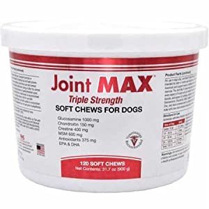 Joint MAX Triple Strength (TS) Soft Chews for Dogs – Glucosamine, Chondroitin, and MSM – Hip and Joint Pain Relief and Support Supplement for Dogs – Made in USA – 120 Soft Chews