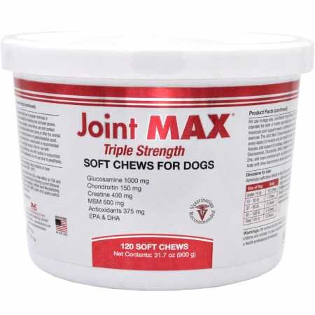 Joint MAX Triple Strength (TS) Soft Chews for Dogs - Glucosamine, Chondroitin, and MSM - Hip and Joint Pain Relief and Support Supplement for Dogs - Made in USA - 120 Soft Chews