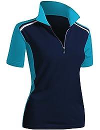 4e5908f00b81 Women's Active Wear Short Sleeve Zipup Polo Shirt
