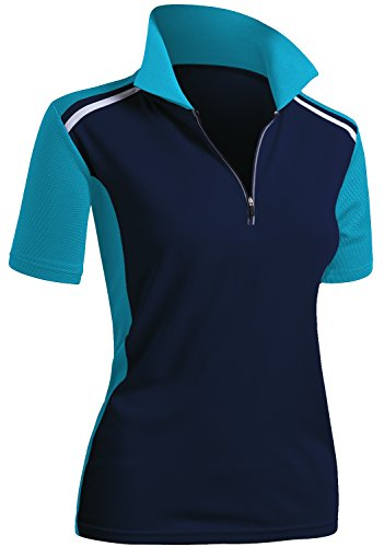 CLOVERY Women's Active Wear Short Sleeve Zipup Polo Shirt