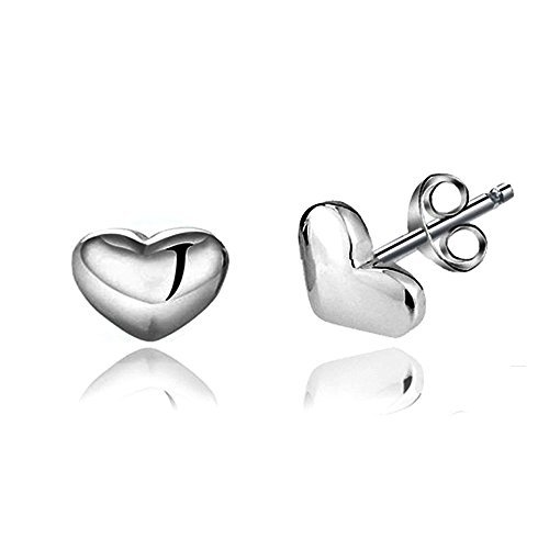 Shape Sterling Earrings Heart Silver (Acxico 925 Sterling Silver Shiny Side Heart Shape Stud Earrings)