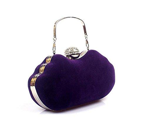 Boda Purple Fiesta Terciopelo Mujer Bolso Embrague Vestido De Hombro Wbag Noche Bolsos Red vSww4