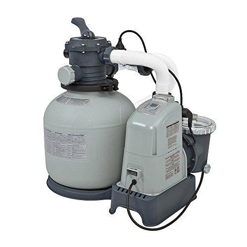 Intex 28675EG Krystal Clear 1500 GPH Sand Filter Pump & Saltwater System with E.C.O. (Electrocatalytic Oxidation) for Above Ground Pools, 110-120V with GFCI