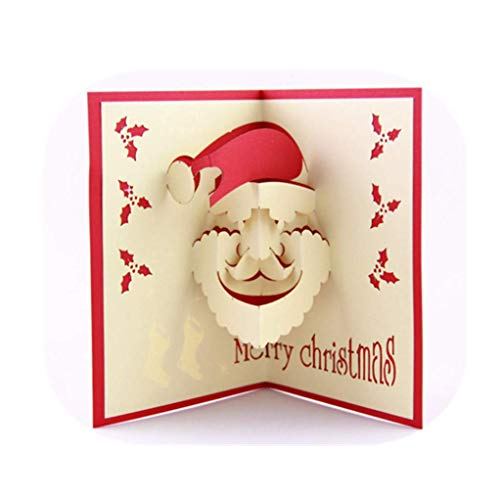 5pcs/Packed to Sell Three-Dimensional Paper Carving Smiling Santa Claus Shape Design Blessing Message Christmas Greeting Cards ()