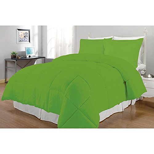 3 Piece King Lime Green Comforter Set, Simplistic Style Master Bedroom Fancy Bedding, Solid Pattern, Microfiber Polyester Material, Machine Washable, Contemporary Modern, Forest Green Sage Green (Bedroom Sets Discount)