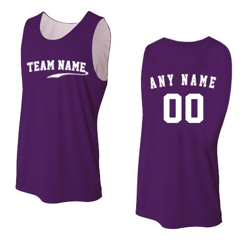 Basketball Purple Custom (Purple/White Ladies Small CUSTOM (Front and/or Back) Reversible Sleeveless Wicking Tank Sports Jersey Top)