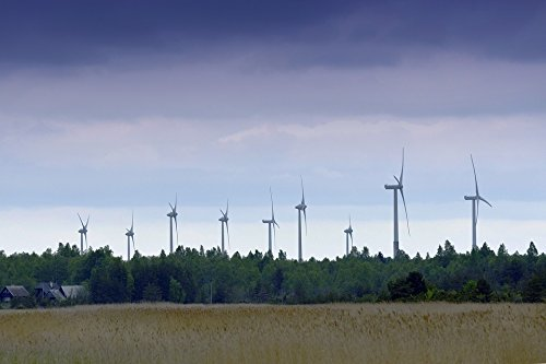 Home Comforts Peel-n-Stick Poster of Windmill Wind Power Field Summer Sky CountrysidePoster 24x16 Adhesive Sticker Poster Print