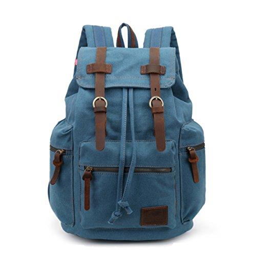 JSBKY Fashion Canvas Vintage Backpack Men Rucksack Leather Casual Bookbag (sky blue) Review