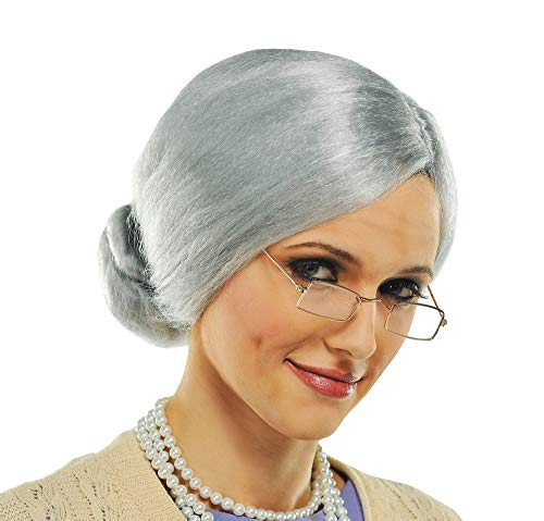 AMSCAN Grandma Wig Halloween Costume Accessories, Silver, One