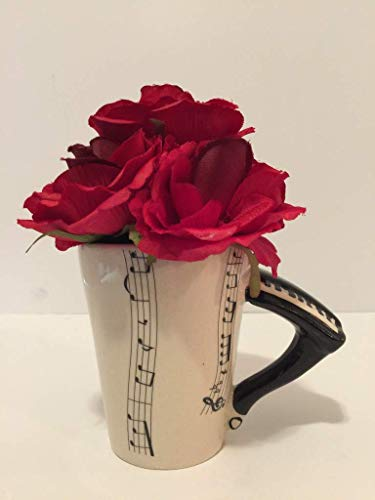 MUSIC FUN - BLACK & WHITE PIANO VASE - BLOOD RED ROSES - MUSICAL INSTRUMENT - MUSICIAN - BAND CLASS - SCHOOL BAND - MUSIC CLASS - ORCHESTRA - MUSIC -