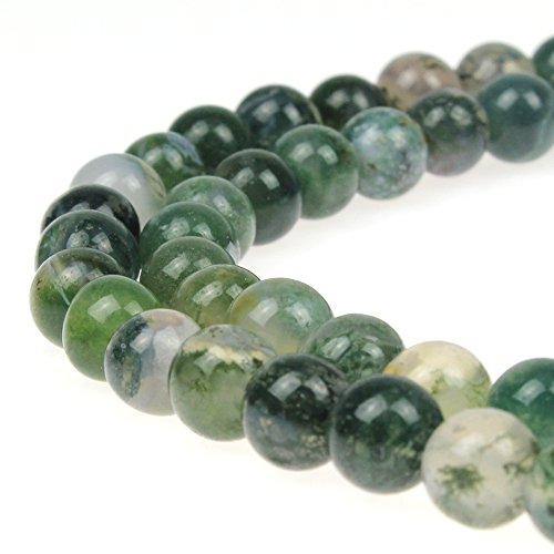 JarTc Moss Agate Round Crystal Energy Stone Healing Power for Jewelry Making - Moss Necklace Agate