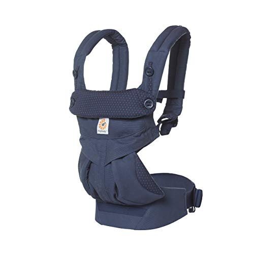 Ergobaby 360 All Carry Positions Award-Winning Ergonomic Baby Carrier, Navy Mini Dots