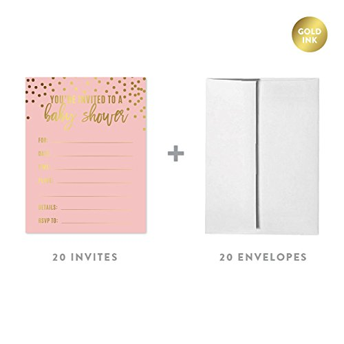 Polka Dots Baby Shower Invitations - Andaz Press Blush Pink and Metallic Gold Confetti Polka Dots Baby Shower Party Collection, Blank Invitations with Envelopes, 20-Pack, Games Activities and Decorations