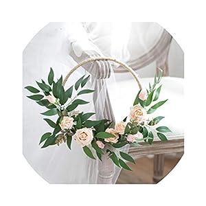 Orchid Silk Flowers Hoop Bouquet Boho Floral Hoop Bridesmaid Wreaths Rose Rustic Wedding Bouquet Artificial Door Wreath 2019 24