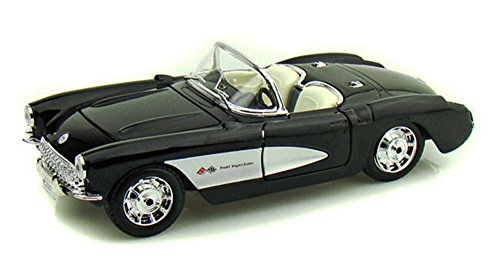 (Maisto 1957 Chevy Corvette Convertible, Black 34275 - 1/24 Scale Diecast Model Toy Car, but NO BOX)