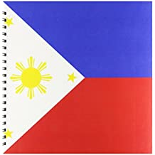 3dRose db_159807_2 Flag of The Philippines Filipino with Golden Yellow Sun and Stars Memory Book, 12 by 12-Inch, Blue/Red/White