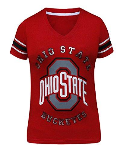Women's Ohio State Buckeyes V Neck Sporty Vintage Shirts Tops - Red (Size: M) (Ohio Machine)