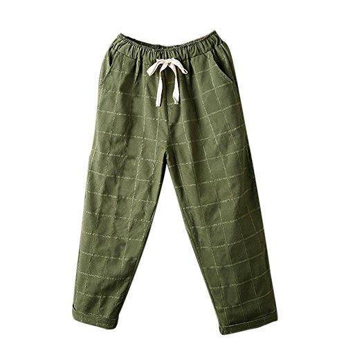 (Pants For Womens,Clearance Sale -Farjing Womens Waist Paperbag Trousers Ladies Striped Lattice Pants Casual Harem Pants(XL,Army green))