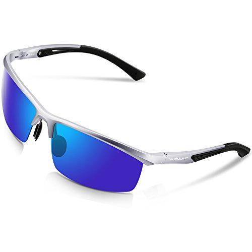 Woolike Men's Sports Style Polarized Sunglasses For Cycling Running Fishing Driving Golf Unbreakable Al-Mg Frame Metal Glasses W819 (Sliver frame&Blue - For Running Cycling Sunglasses And Best