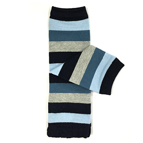 Bowbear Baby Stripes and Chevron Leg Warmers, Blues and Gray S