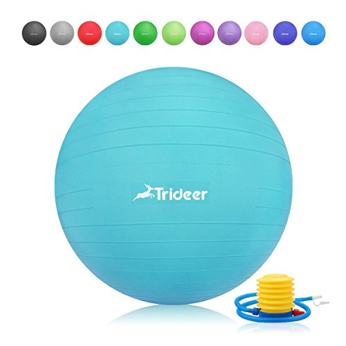 Trideer Exercise Ball (45-85cm) EXTRA THICK Yoga Ball Chair, Anti-Burst Heavy Duty Stability Ball Supports 2200lbs, Birthing Ball with Quick Pump (Office & Home & Gym) (Turkis, 65cm) by Trideer