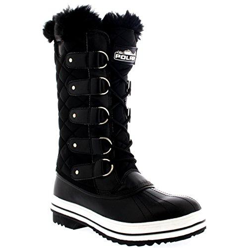 Womens Snow Boot Nylon Tall Winter Fur Lined Snow Warm