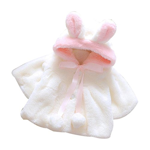 Clearance Sale Toddler Baby Girl Cute Fur Rabbit Ear Jacket Thick Warm Hooded Coat Winter Clothes Outwear (White, 6-9M) (Best Rabbits For Fur)