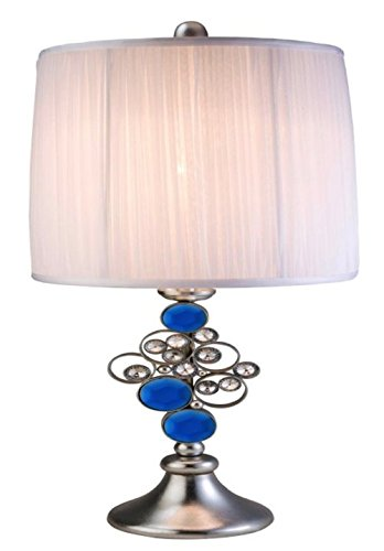 Silver Accent Lamp Pleated Shade - ORE International K-4259-T1 Just Dazzle Buffet Table Lamp, 28-Inch Height, Blue/Silver