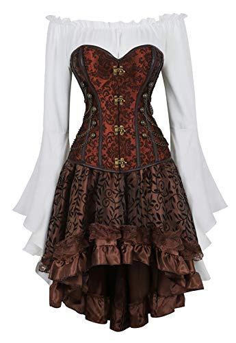 Zhitunemi Women Steampunk Corset Dress Medieval Peasant Chemise Costume Victorian Saloon Girl Dresses Brown Large ()