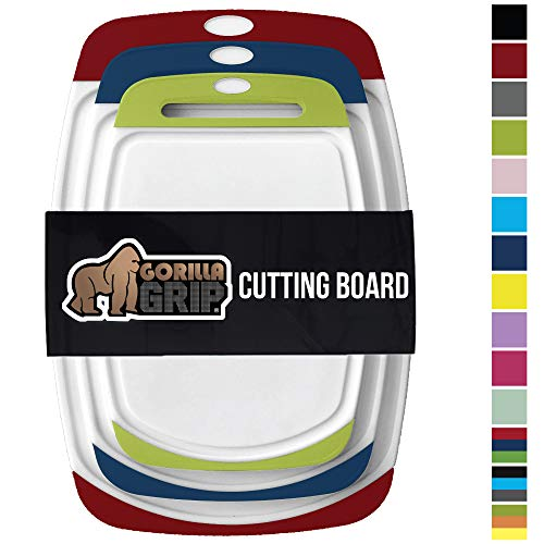 GORILLA GRIP Original Reversible Cutting Board, 3 Piece, BPA Free, Dishwasher Safe, Juice Grooves, Larger Thicker Boards, Easy Grip Handle, Non Porous, Extra Large, Set of 3, Red,Blue,Lime Green