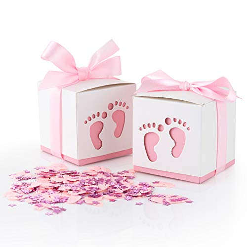 QILICHZ 50pcs Baby Gift Candy Boxes Baby Shower Candy Boxes Baby Favor Box Party Gable Favor Boxes  Paper Treat Boxes with Ribbon and Footprints for Baby Girl Shower,Wedding Party(Includes Confetti)]()