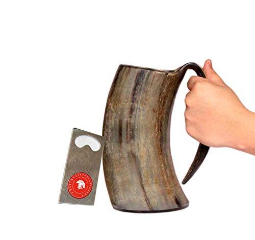 vikings Hand Made 36oz - 1 LITER - Natural Finish Drinking Horn Tankard ...