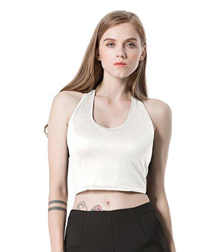 Moxeay Sexy Women U-Neck Tank tops Bustier Vest Crop Bralette (Large, White)