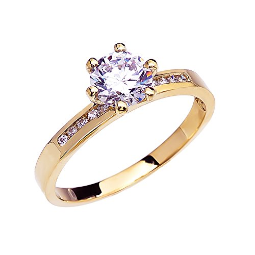 10k Yellow Gold Channel-Set Diamond Engagement Proposal Ring With 1 Carat White Topaz Solitaire Centerstone (Size 7) ()