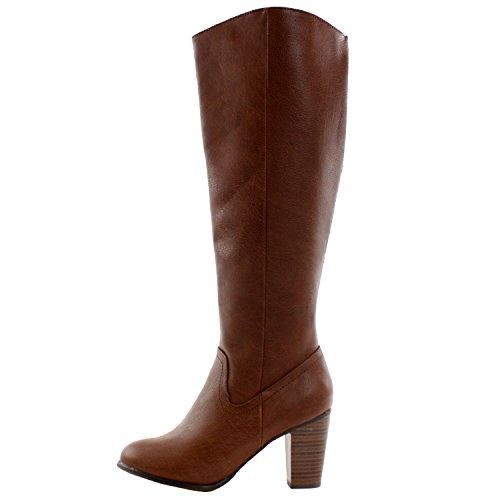Breckelles Felicia-14 Knee Stacked High High Heel Riding Boots Tan Pu r4xRYaIS