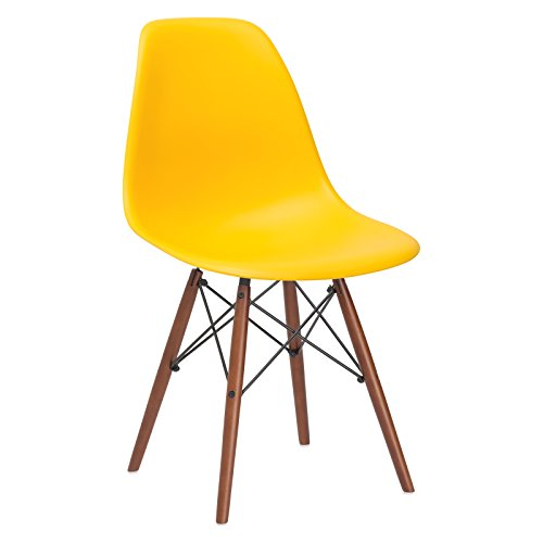 Poly and Bark Vortex Side Chair Walnut Legs, Yellow