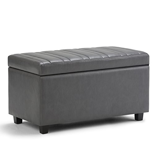 Simpli Home Darcy Storage Ottoman Bench, Stone Grey (Oak Bedroom Ottoman)
