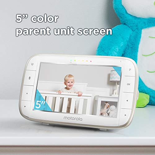 41lZUe3JW2L - Motorola Video Baby Monitor - 2 Wide Angle HD Cameras With Infrared Night Vision And Remote Pan, Tilt, Zoom - 5-Inch LCD Color Display With Split Screen View, Room Temperature And Sound Alert MBP50-G2