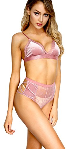 he Victory of Cupid Womens 2 Piece Velvet Eyelash Lace Bra Set Lingerie Lace Babydoll Bralette Bra and Panty Set Everyday Bras (Ducty Pink-26, S)
