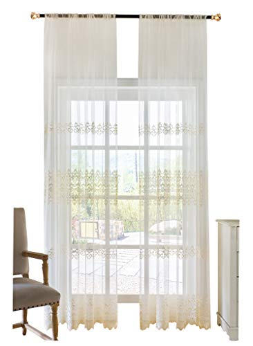 BW0057 Elegance Fine Embroidered Sheer Curtain Window Treatment Transparent Rod Pocket Voile Drape for Bedroom Living Room (1 Panel, W 50 x L 63 inch, White) 1301035C1BYHWH15063-8518 (Cortina De Ba??o)