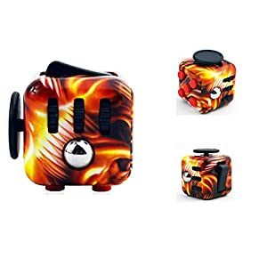 Ratoop Fidget Cube Relieves Stress and Anxiety Attention Toy for Work, Class, Home (Flames)