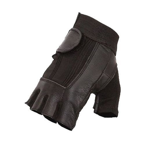 MOTORCYCLE MEN'S GEL PAL FINGERLESS SPENDAX GLOVES WITH MESH & VERY SOFT LEATHE(3XL)