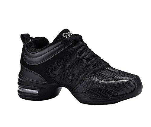 Dayiss® Mädchen Damen Modern Tanzschuhe jazzdance schuhe Tanz Sneaker Websneaker weichen Sohle Sport Schuhe Fitness Schuhe Halbschuhe Schürschuh Freizeitschuhe Turnschuh (37-Fußlänge 235mm, Schwarz)